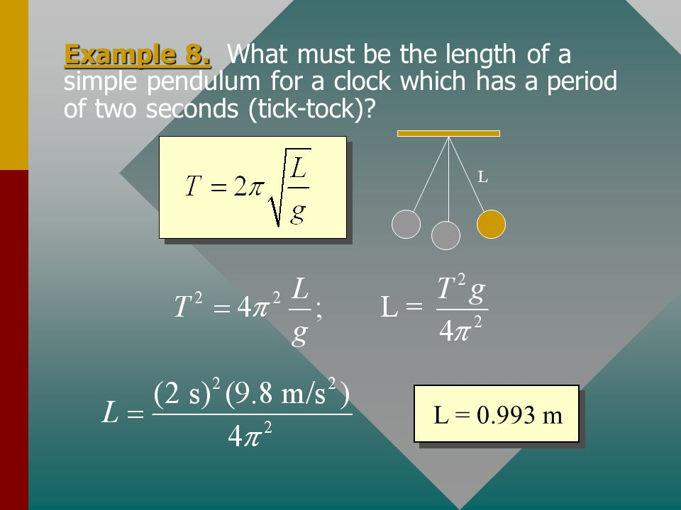 Example 8. What must be the length of a simple pendulum for a clock which has a period of two seconds (tick-tock)