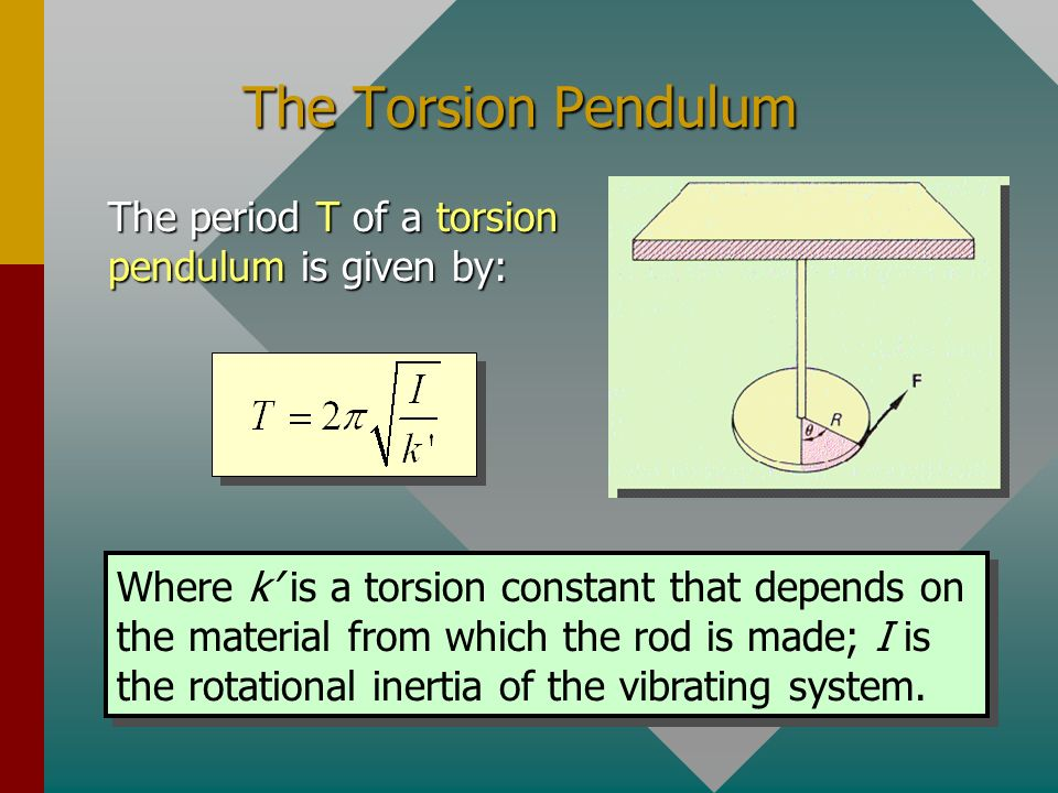 The Torsion Pendulum The period T of a torsion pendulum is given by: