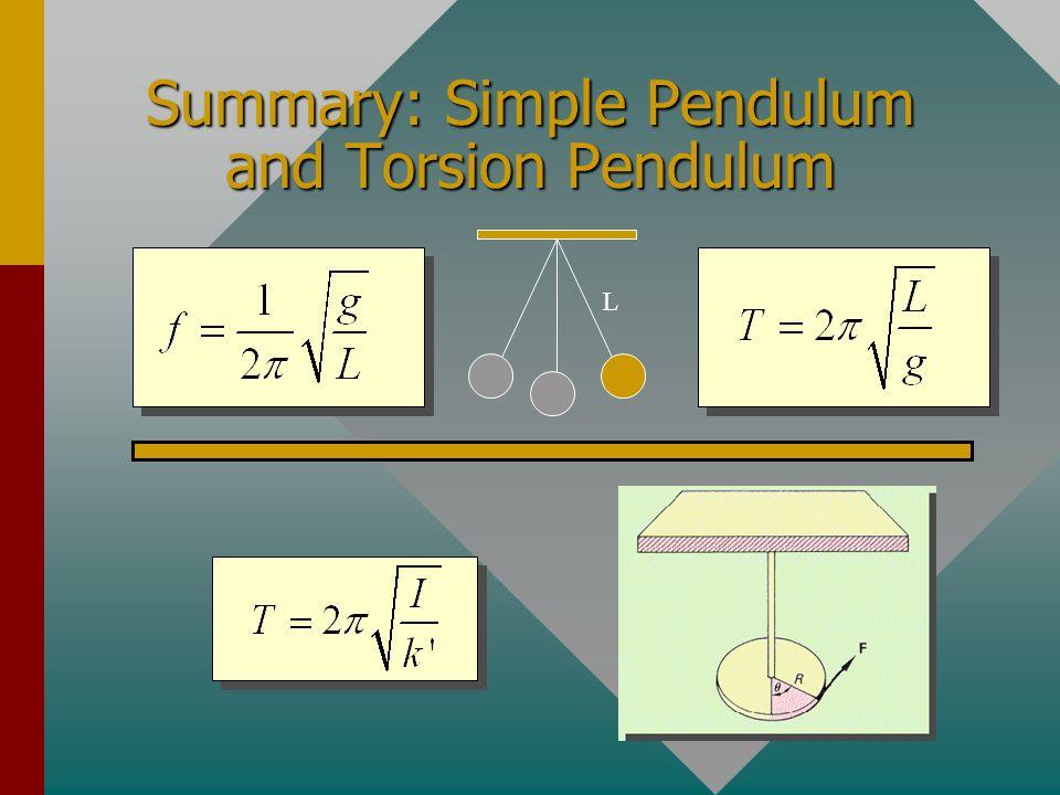 Summary: Simple Pendulum and Torsion Pendulum