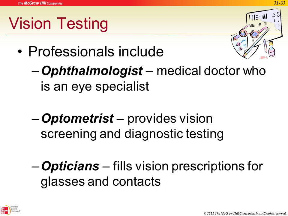 Vision Testing Professionals include