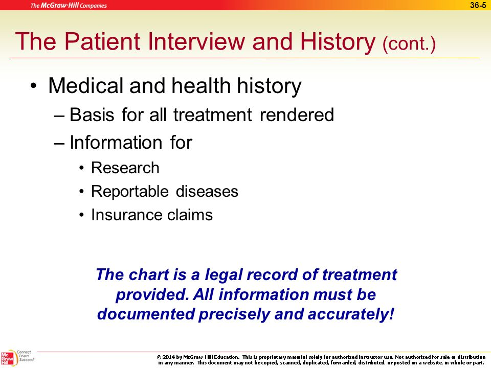 The Patient Interview and History (cont.)