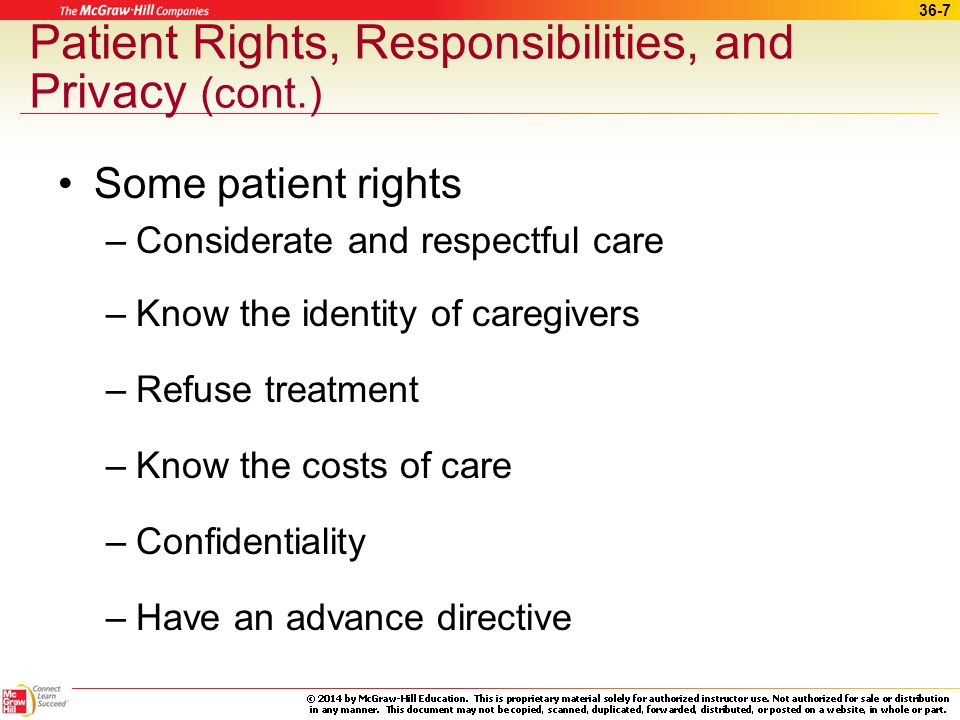 Patient Rights, Responsibilities, and Privacy (cont.)