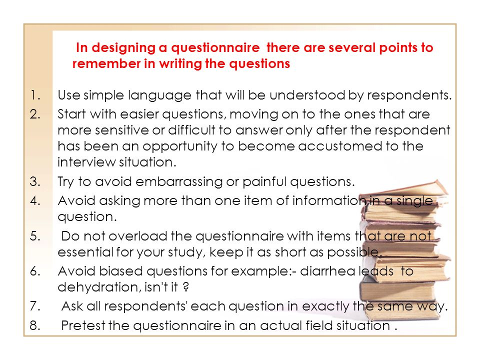 pretesting questionnaire 1 Pretesting activities will involve one of the following methods for identifying measurement problems with the questionnaire or survey procedure: cognitive interviews, focus groups, respondent debriefing, behavior coding of respondent/interviewer interaction, and.