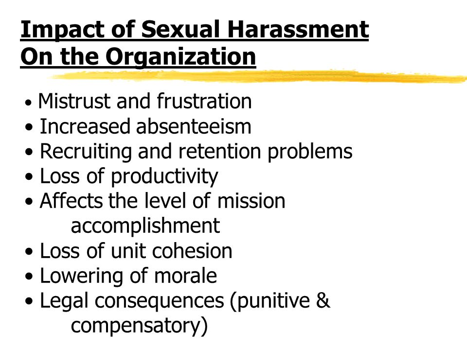 sexual organization consequence harassment