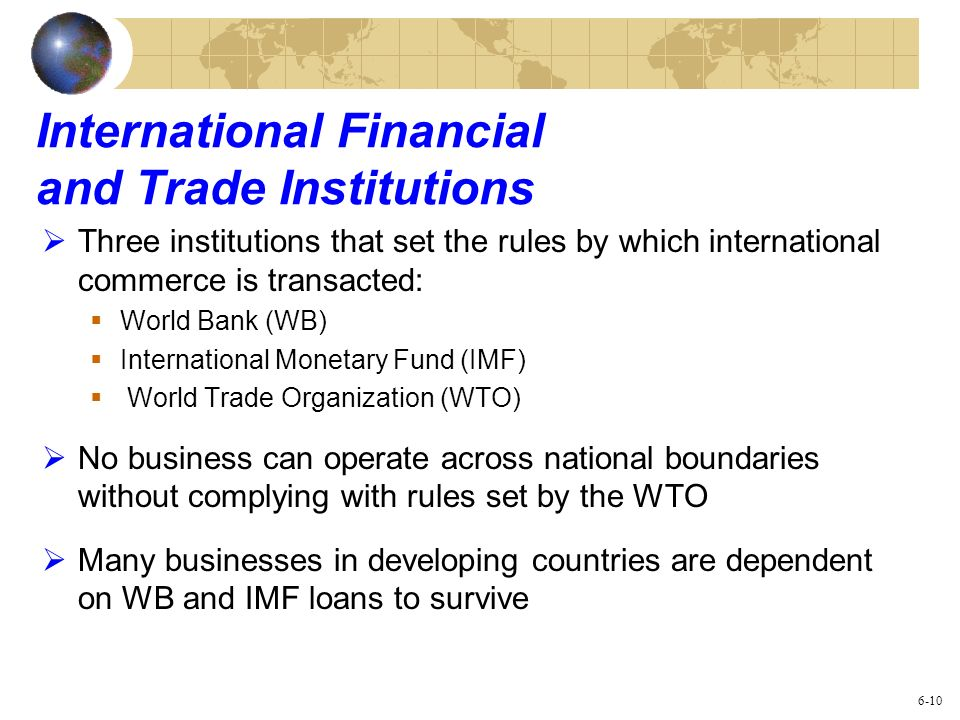 International Financial and Trade Institutions