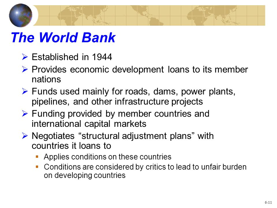 The World Bank Established in 1944