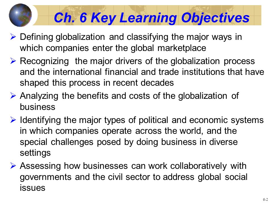 Ch. 6 Key Learning Objectives