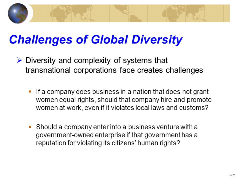 Challenges of Global Diversity