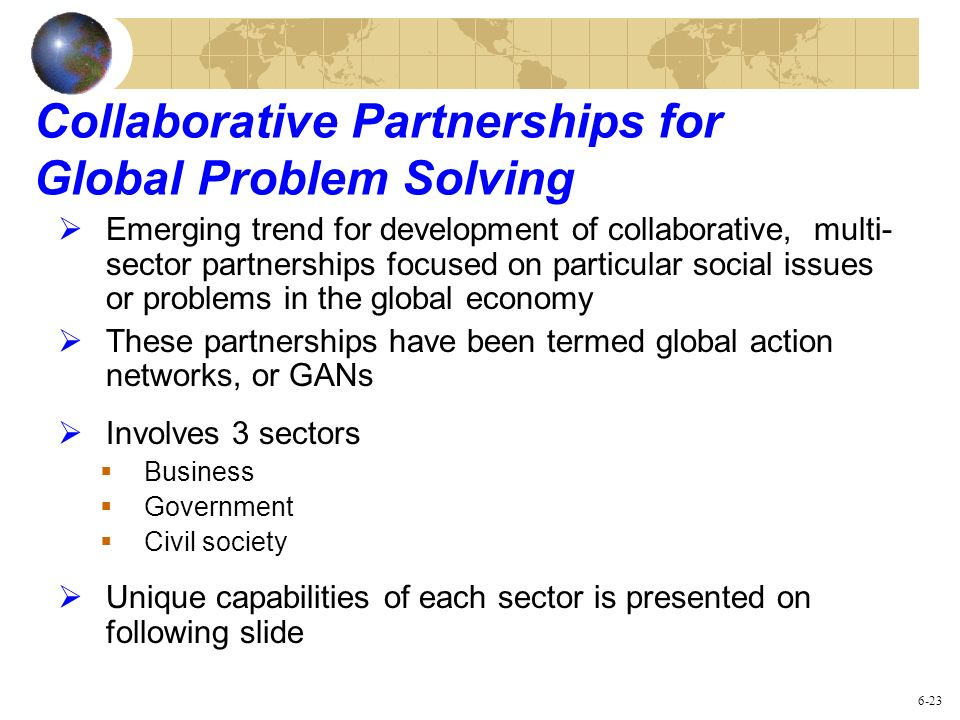 Collaborative Partnerships for Global Problem Solving