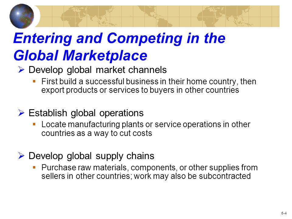 Entering and Competing in the Global Marketplace