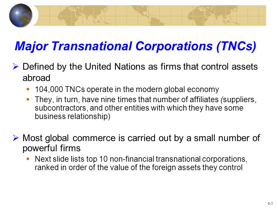 Major Transnational Corporations (TNCs)