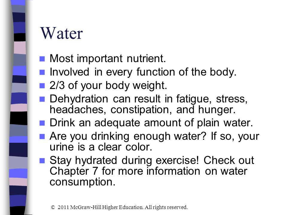Water Most important nutrient. Involved in every function of the body.