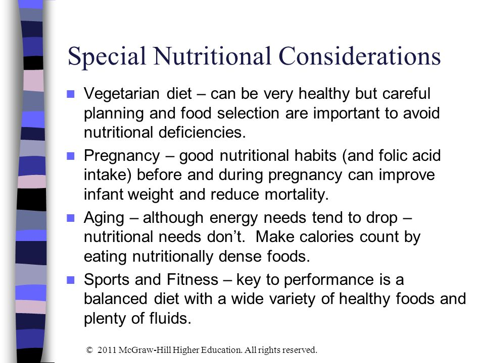 Special Nutritional Considerations