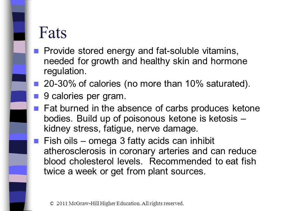 Fats Provide stored energy and fat-soluble vitamins, needed for growth and healthy skin and hormone regulation.