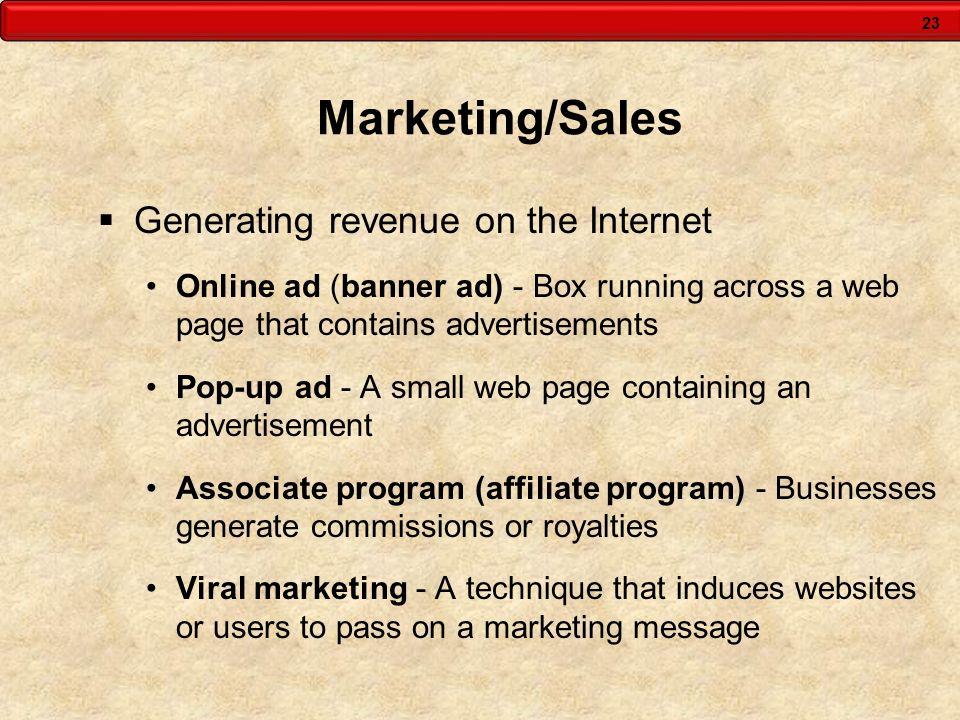 Marketing/Sales Generating revenue on the Internet