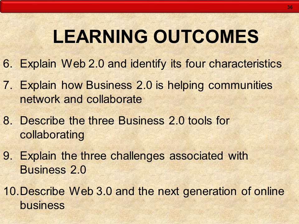 LEARNING OUTCOMES Explain Web 2.0 and identify its four characteristics. Explain how Business 2.0 is helping communities network and collaborate.