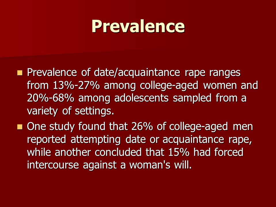 a study on date rape The history of campus sexual assault : mary koss coined the term date rape back in the always find undergraduates a handy population to study.