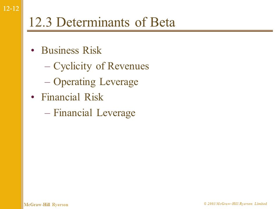 12.3 Determinants of Beta Business Risk Cyclicity of Revenues