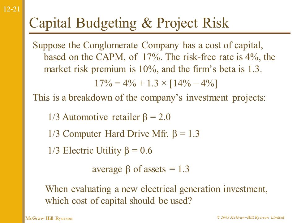 Capital Budgeting & Project Risk