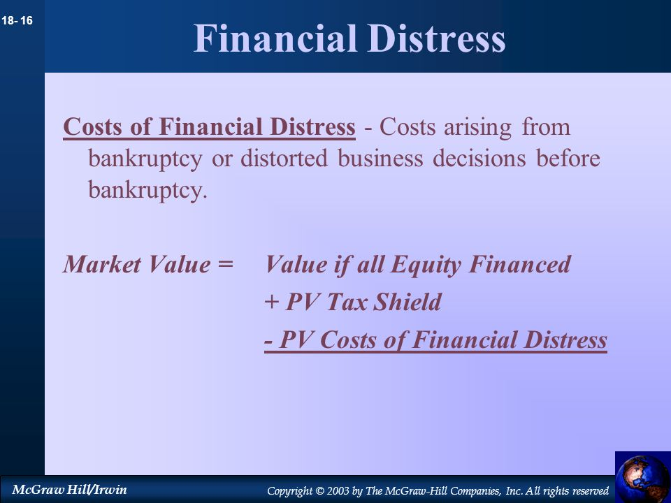 Financial DistressCosts of Financial Distress - Costs arising from bankruptcy or distorted business decisions before bankruptcy.