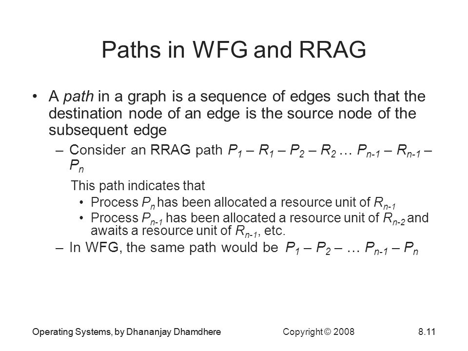 Paths in WFG and RRAG A path in a graph is a sequence of edges such that the destination node of an edge is the source node of the subsequent edge.
