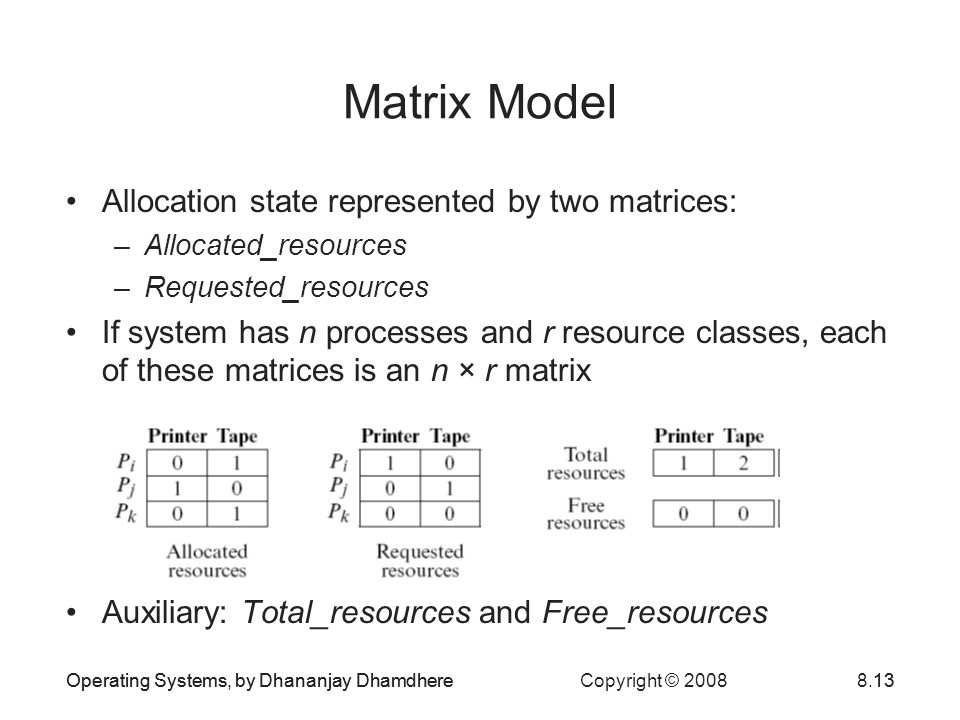 Matrix Model Allocation state represented by two matrices: