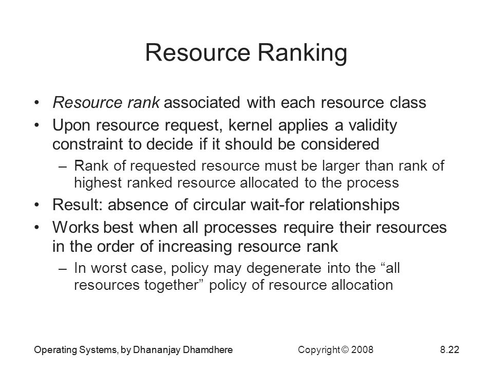 Resource Ranking Resource rank associated with each resource class