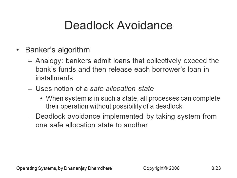Deadlock Avoidance Banker's algorithm