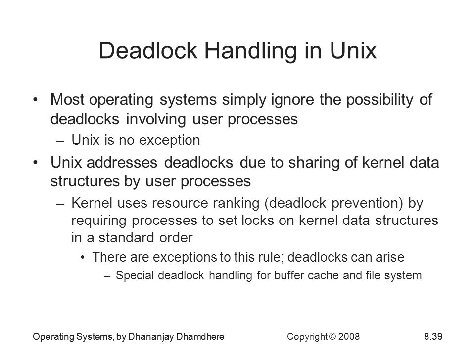 Deadlock Handling in Unix