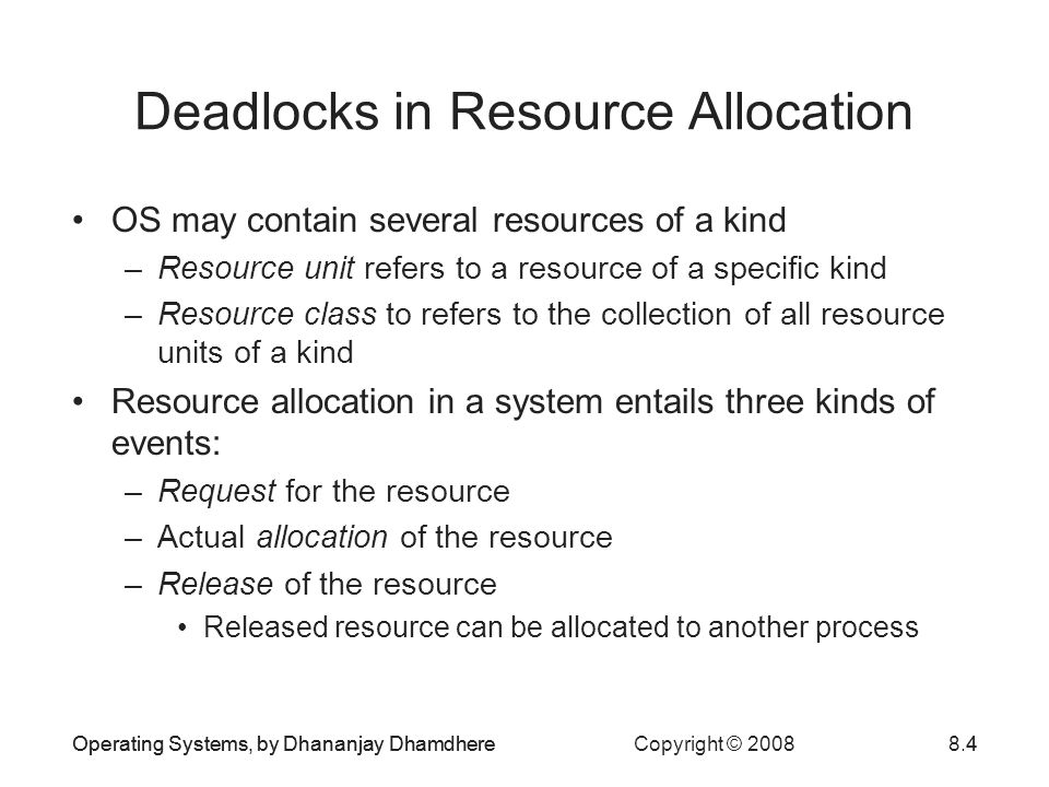 Deadlocks in Resource Allocation
