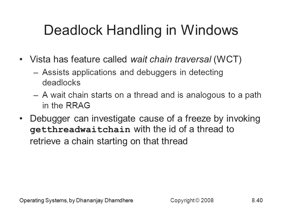 Deadlock Handling in Windows