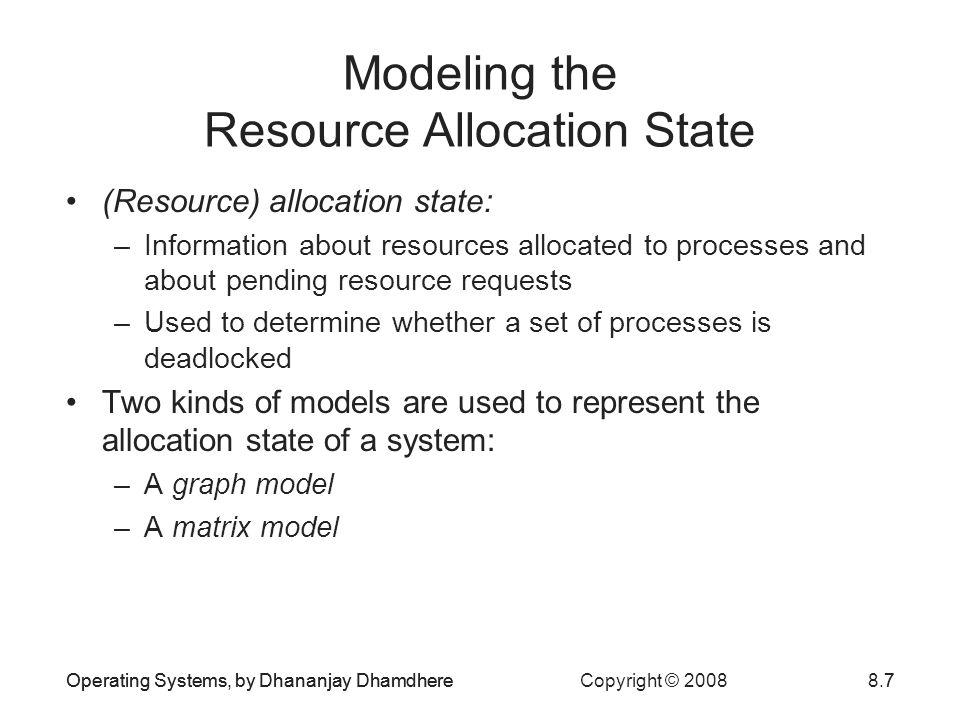 Modeling the Resource Allocation State