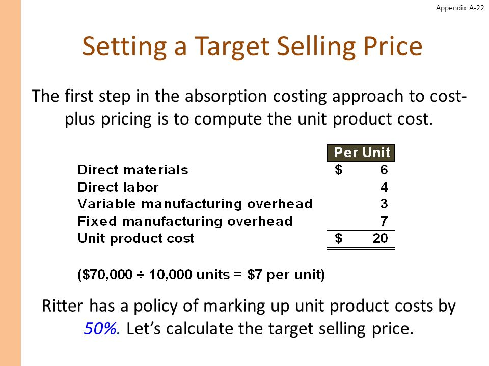 the absorption costing approach to cost plus pricing Impact of absorption costing and variable costing on profit question: if a company uses just-in-time inventory, and therefore has no beginning or ending inventory, profit will be exactly the same regardless of the costing approach used.