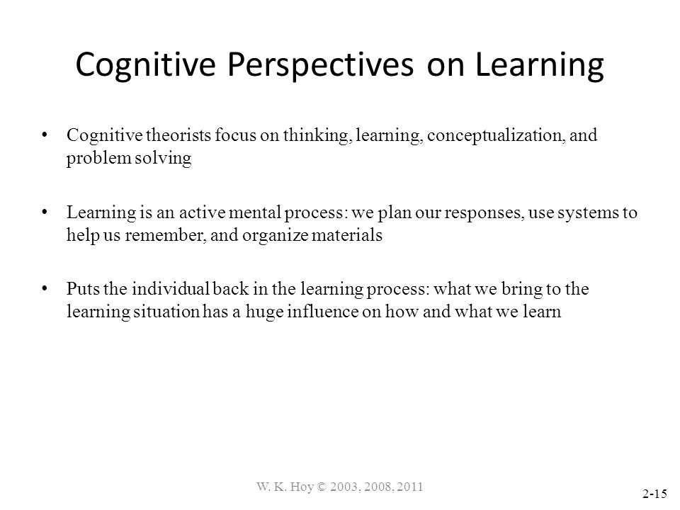 Cognitive Perspectives on Learning
