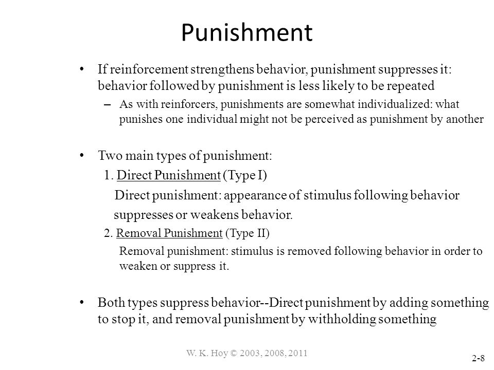 Punishment If reinforcement strengthens behavior, punishment suppresses it: behavior followed by punishment is less likely to be repeated.
