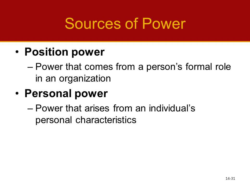 Sources of Power Position power Personal power