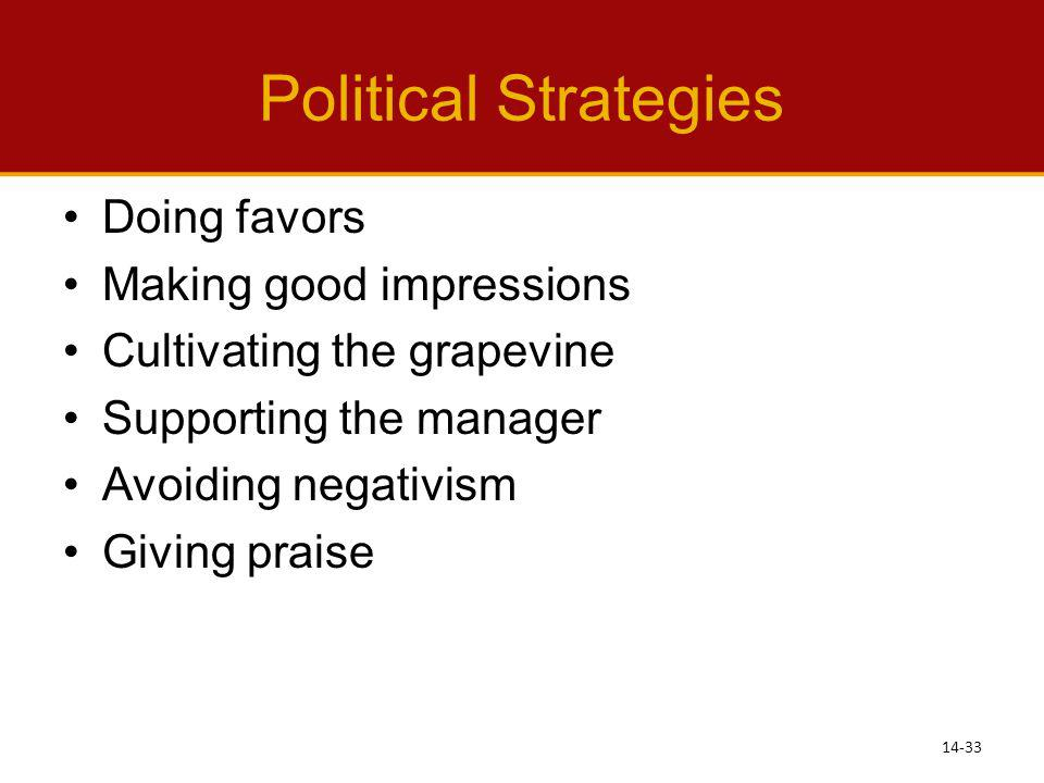 Political Strategies Doing favors Making good impressions