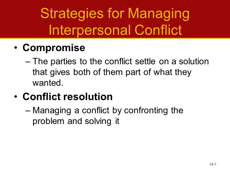 Strategies for Managing Interpersonal Conflict