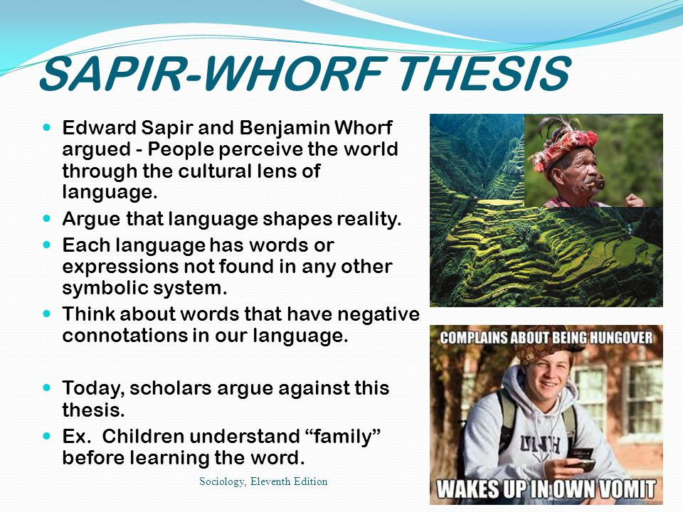 sapir-whorf thesis sociology Whorf produced important work on hopi and developed in his own way some of sapir's ideas about the relation of language and thought, resulting in the so called sapir-whorf hypothesis or, in whorf's terms, the principle of of linguistic relativity.