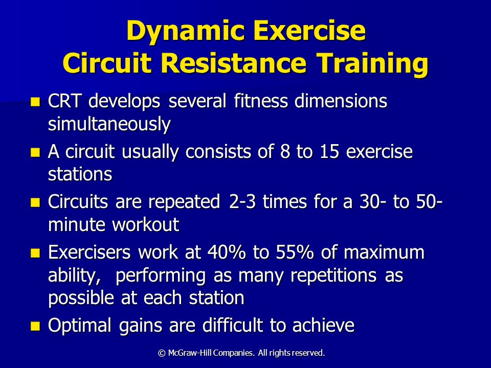Dynamic Exercise Circuit Resistance Training