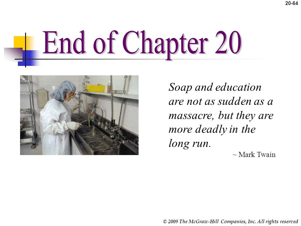 End of Chapter 20 Soap and education are not as sudden as a massacre, but they are more deadly in the long run.