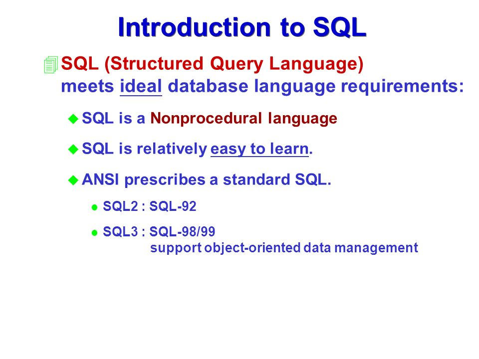 structure query language Sql is a domain-specific language used in programming and designed for  managing data held in a relational database management system (rdbms), or  for.
