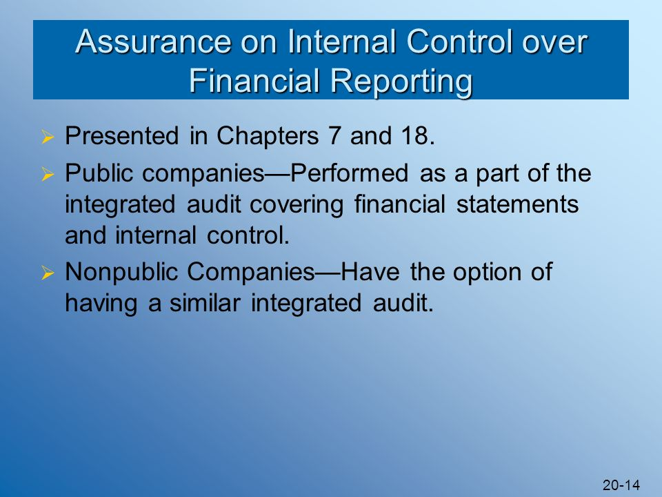 Assurance on Internal Control over Financial Reporting