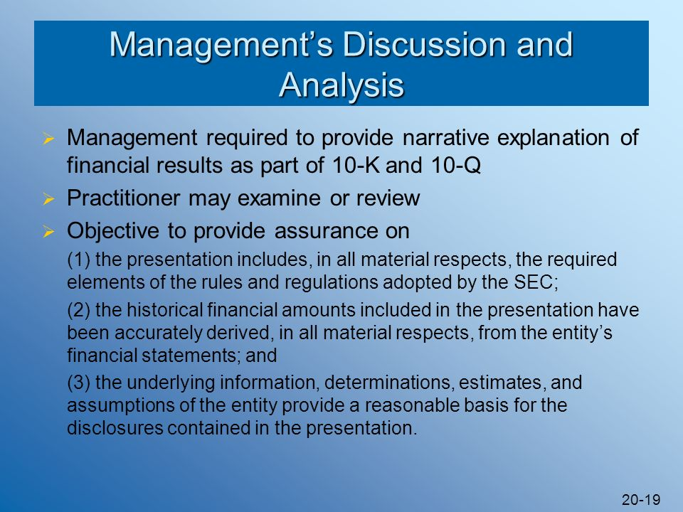 Management's Discussion and Analysis