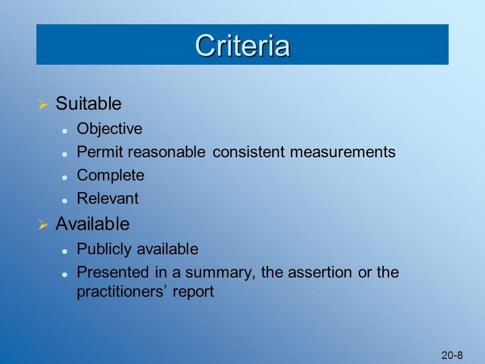 Criteria Suitable Available Objective