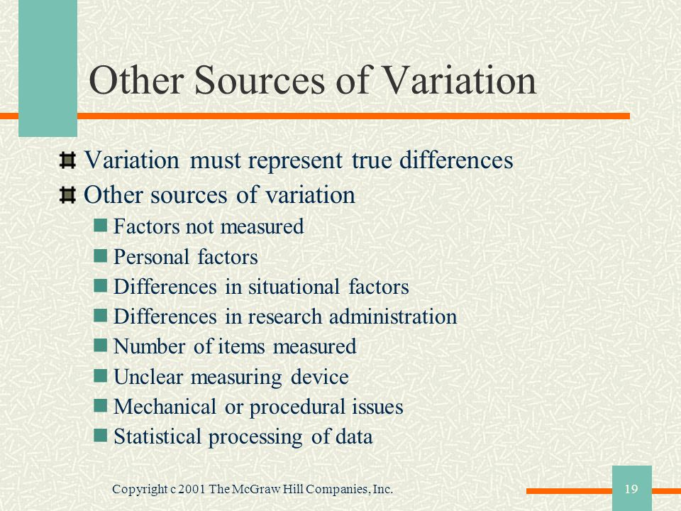 Other Sources of Variation