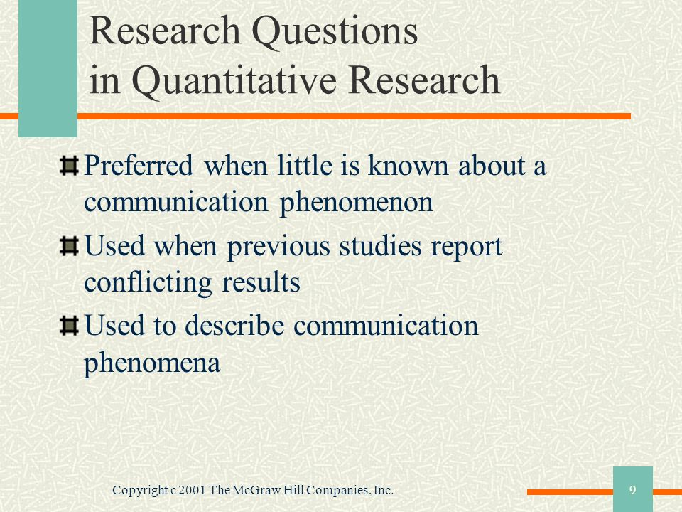 Research Questions in Quantitative Research