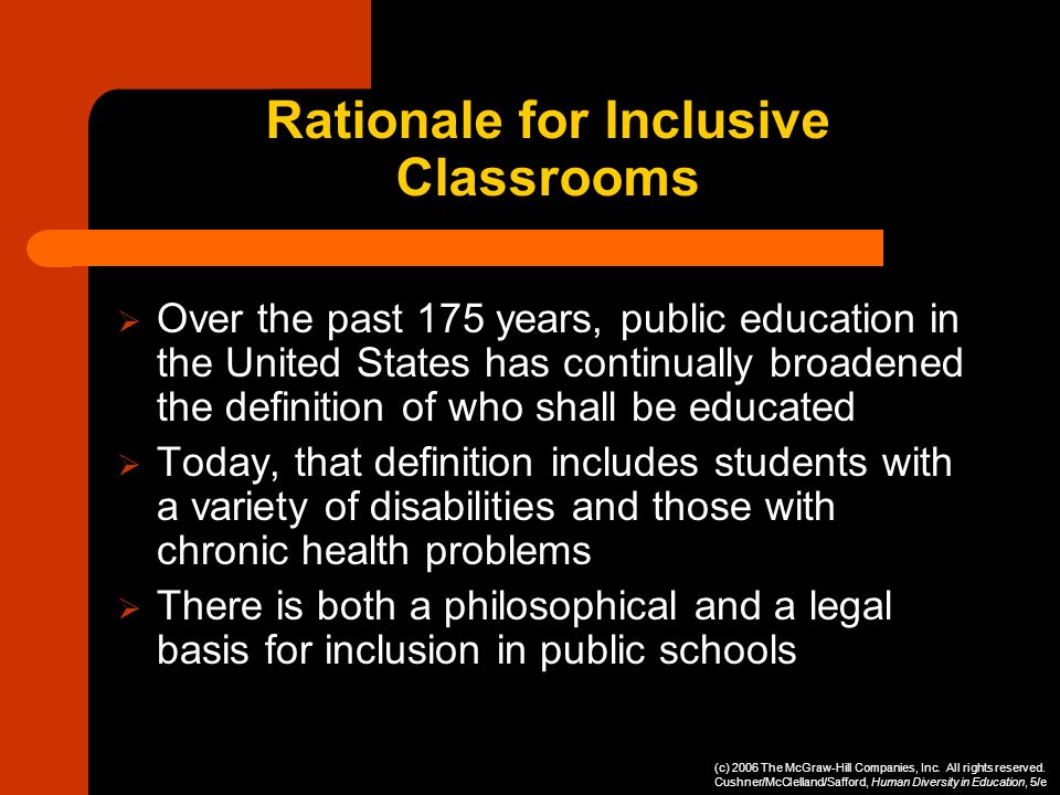 Rationale for Inclusive Classrooms