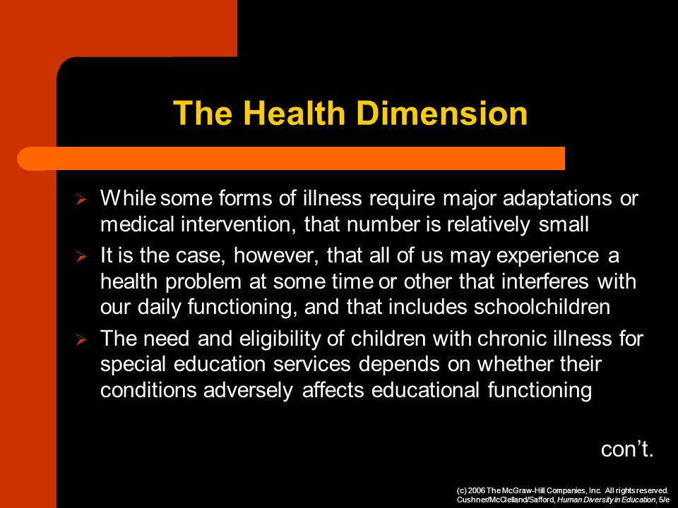 The Health Dimension con't.