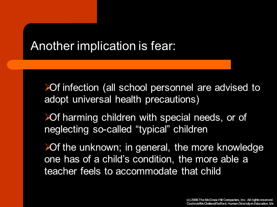 Another implication is fear: